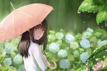 Wallpaper Flowers, Green, Anime Girl, Rainy Day, Anime Art