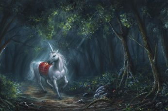 Wallpaper Forest, Dreamland, Unicorn, Woodland, Tree