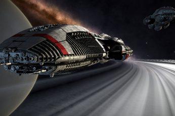 Wallpaper Gray Spaceship, Science Fiction, Futuristic
