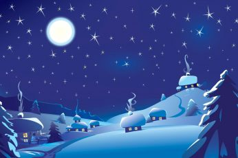 Wallpaper House Covered With Snow During Night Illustration
