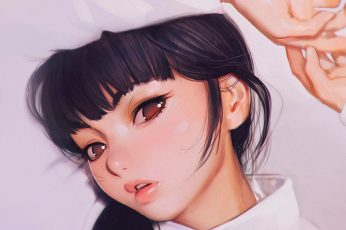 Wallpaper Ilya, Kuvshinov, Anime, Girl, Shy, Cute
