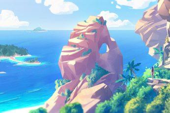 Wallpaper Island Near Ocean Cartoon, Artwork, Digital Art