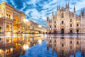 Wallpaper Italy, Arch, Puddle, Lombardy, Milan, Europe
