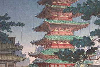 Wallpaper Japanese Art, Painting, Temple, Trees 1440×2560