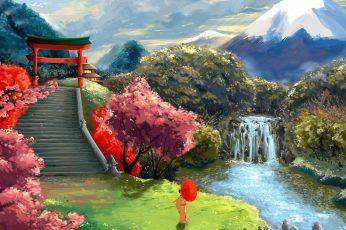 Wallpaper Japanese, Garden, Japanese Garden, Blossom, Sky