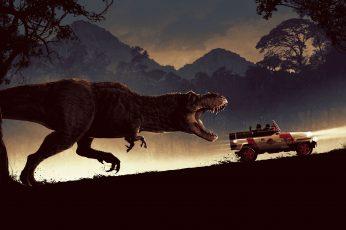 Wallpaper Jurassic Park, Car, Dinosaur, Tyrannosaurus