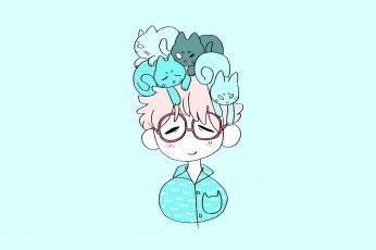 Wallpaper Kawaii, Anime Boy, Cat, Cats, Glasses, Anime