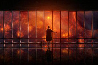 Wallpaper Man In Coat Standing In Front Of Glass Window