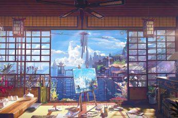 Wallpaper Ocean View, Room, Digital Art, Anime, Painting