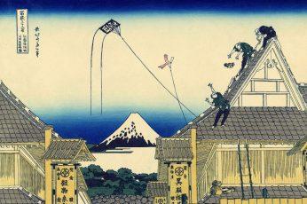 Wallpaper Paintings Japanese Kite Rooftops Traditional Art