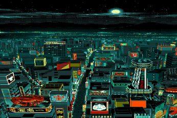 Wallpaper Pixel Art, Digital Art, Pixelated, Pixels, Night