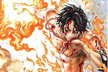 Wallpaper Portgas D. Ace Illustration, Anime, One Piece