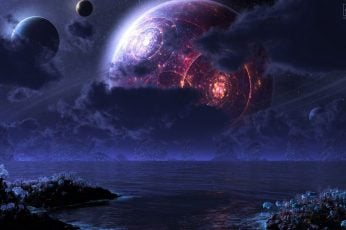 Wallpaper Red Planet And Ocean Painting, Space, Futuristic