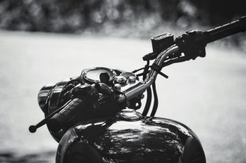 Wallpaper Royal Enfield, Motorcycle Handle, Black And White