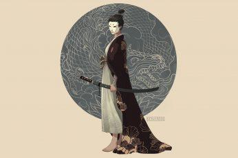 Wallpaper Samurai, Kimono, Katana, Weapon, Tattoo