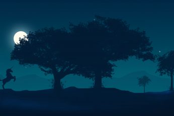 Wallpaper Scenery, Silhouette, Moon, Night, Unicorn, 4k