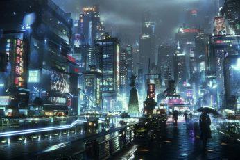Wallpaper Sci Fi, City, Night 1920x1080px