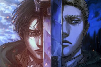 Wallpaper Shingeki No Kyojin, Levi, Erwin Smith, Sword
