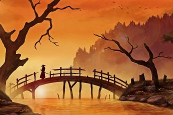 Wallpaper Silhouette Of Person On Top Of Bridge