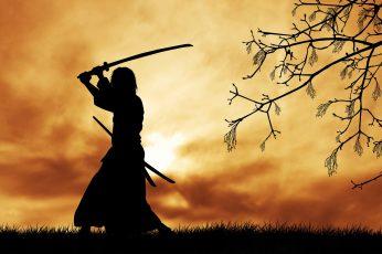 Wallpaper Silhouette Of Samurai Digital Wallpaper, Japanese