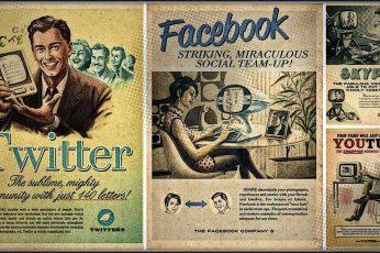 Wallpaper Social Media Site Memes Collage, Vintage