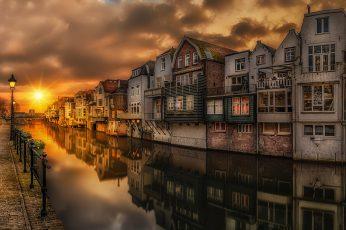 Wallpaper Sunset In Gorinchem Steenenhoek Canal Netherland