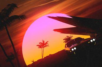 Wallpaper Sunset, The Sun, Auto, Music, Machine, Style