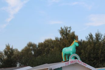Wallpaper Teal Horse Statue, Unicorn, Sky, Roof, Forest