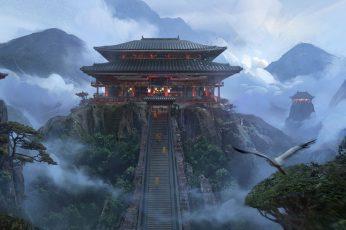 Wallpaper Temple, Fantasy Art, Artwork, Landscape, Japanese