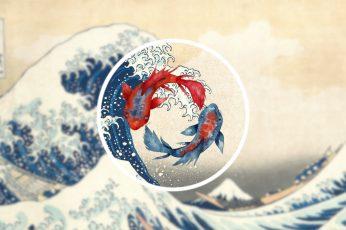 Wallpaper The Great Wave Off Kanagawa, Waves, Koi, Fish