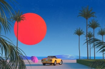 Wallpaper The Sun, Auto, Music, Machine, Style, Palm Trees
