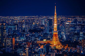 Wallpaper Tokyo Tower, City Lights, Cityscape, Night Light