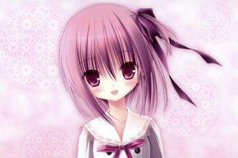 Wallpaper Tomoka, Lovely, Purple Hair, Ribbon, Girl, Nice