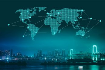 Wallpaper Trade And Commerce World Map Over City At Night