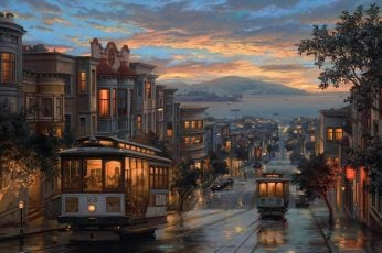 Wallpaper Tree, Cable Car, Painting, Home, Tram, Sunset