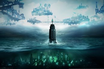 Wallpaper Underwater City And Aircrafts Digital Wallpaper