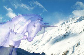Wallpaper Unicorn, Snow, Nature, Winter, Animal Themes,