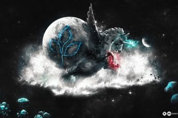 Wallpaper Unicorn, Wings, Black, Creative, Horse, Desktop