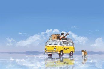 Wallpaper Vintage Yellow Minivan Beside Dog, Anime, Lake