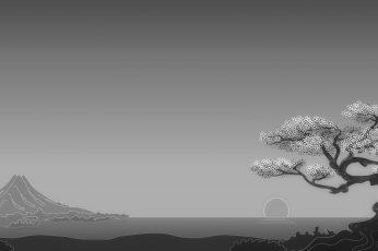 Wallpaper White Leafed Tree, Digital Art, Minimalism