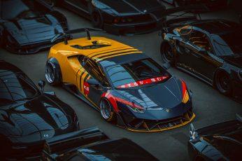 Wallpaper Yellow And Black Lamborghini Huracan Coupe, Car