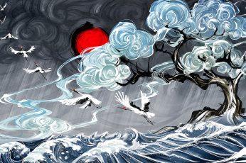 Wallpaper Yuumei, Digital Art, Water, Clouds, Waves, Japan