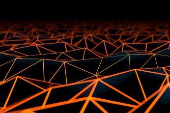 Black and orange surface wallpaper, digital art, geometry