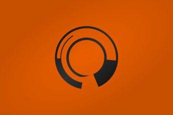 Black and orange logo wallpaper, abstract, minimalism