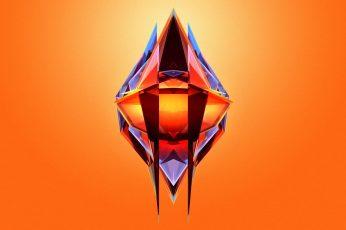 Orange and blue logo wallpaper, artwork, Facets