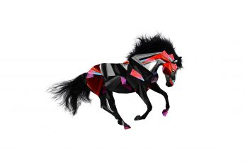 Black and red horse wallpaper illustration, animals