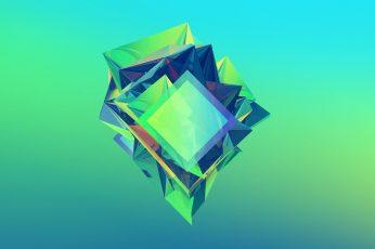 Green and blue 3D wallpaper, green