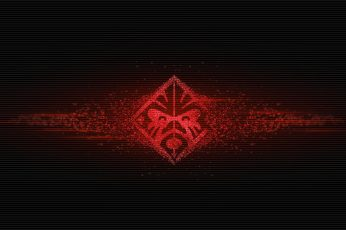 HP Omen logo wallpaper, red icon, Hewlett Packard, black