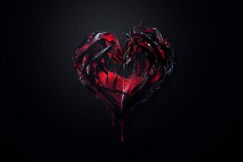 Black and red heart digital wallpaper, dark