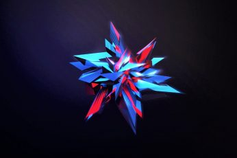 Blue and red wallpaper, Facets, digital art